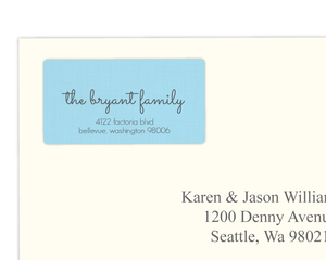 Light Blue Welcome Address Label