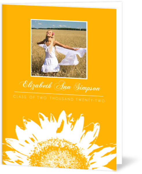 Purple and White Sunflower Graduation Invitation