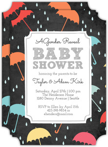 Chalkboard Umbrella Gender Reveal Baby Shower Invitation