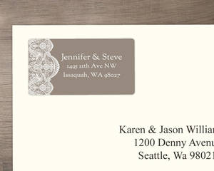 Soft Brown and Lace Address Label