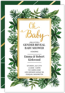 Watercolor Leaves Gender Reveal Baby Shower Invitation