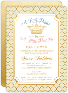 Prince or Princess Gender Reveal Baby Shower Invitation