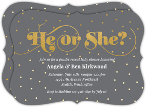 Faux Gold Dots Gender Reveal Baby Shower Invitation
