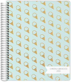 Gold Foil Ice Cream Pattern Daily Planner