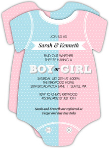 Pink or Blue Onesie Gender Reveal Invitation