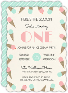Ice Cream Scoop Birthday Party Invitation