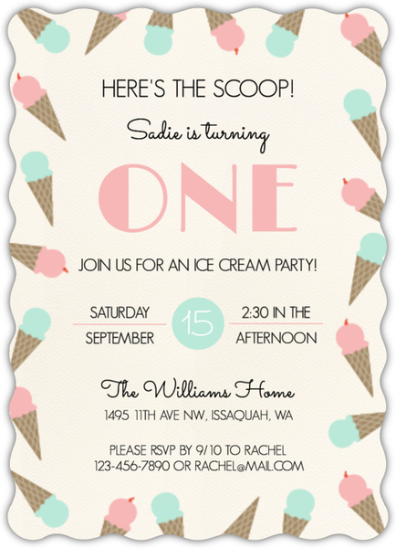Ice Cream Scoop Birthday Party Invitation First Birthday Invitations