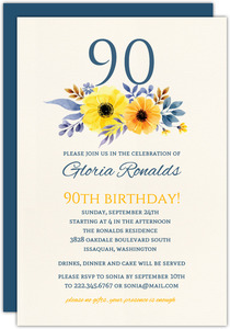 Elegant Yellow Floral 90th Birthday Invitation