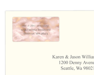Elegant Blush and Gold Marble Wedding Address Label