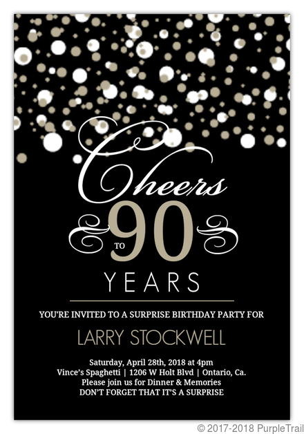 Black And Taupe Elegant Confetti 90th Birthday Invitation