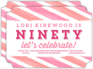 Bright Watercolor Stripes 90th Birthday Invitation