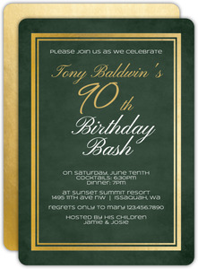 Chalkboard Gold Frame 90th Birthday Invitation