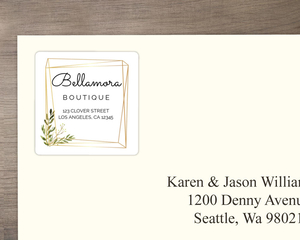 Faux Gold Geometric Greenery Address Label