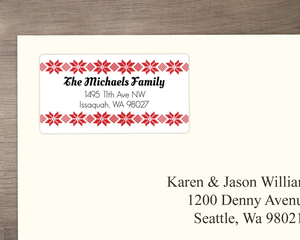 Red Stitched Address Label