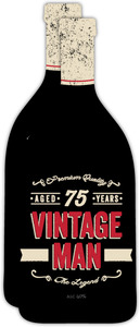 Vintage Man Bottle 75th Birthday Invitation