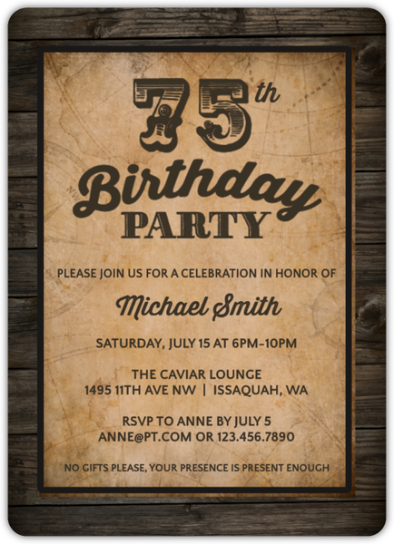 Vintage Woodgrain 75th Birthday Invitation