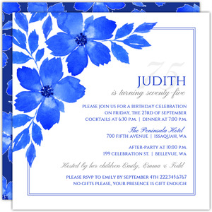 Royal Blue Formal 75th Birthday Party Invitation