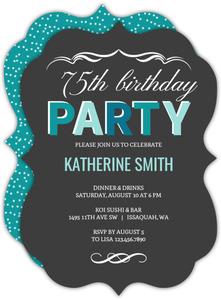 75th birthday invitations custom birthday invites for everyone turquoise celebration 75th birthday invitation filmwisefo