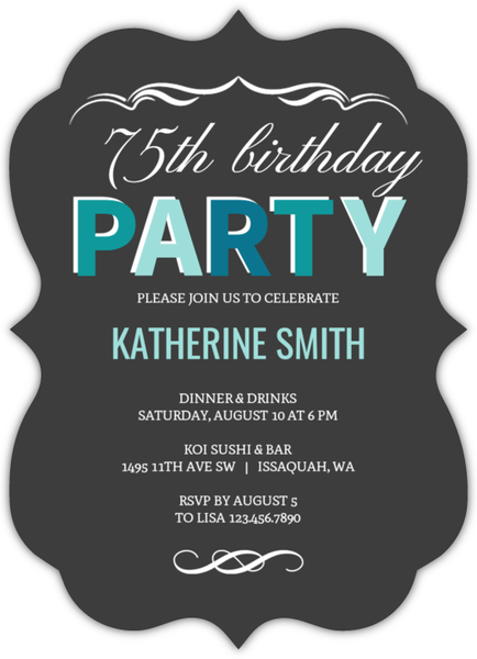 Turquoise Celebration 75th Birthday Invitation