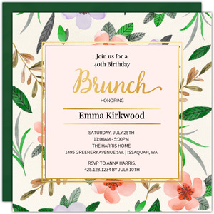 Watercolor Leaves Brunch Invitation