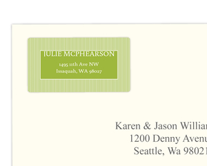 Green and White Striped Address Label