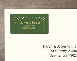 Green and Faux Gold Confetti Address Label