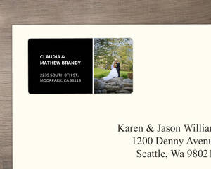 Modern Black Photo Address Label