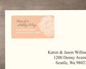 Peach With White Peony Address Labels
