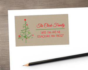Simple Festive Tree Kraft Address Label