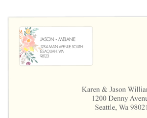 Modern Watercolor Floral Address Label