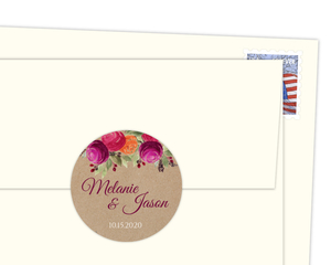 Rustic Kraft Watercolor Floral Envelope Seal