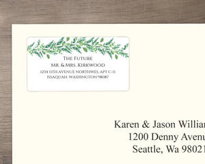 Gorgeous Greenery Wedding Address Label