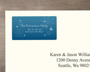Blue Lagoon Snowflake Address Label