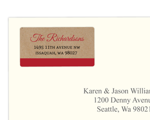 Kraft Red Stars Typography Address Label