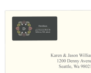 Floral Garden Monogram Address Label
