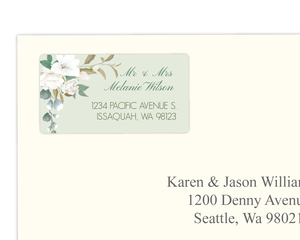 Floral White Garden Address Label