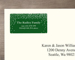 Dark Green Snow Confetti Address Label