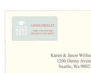 Light Green and Coral Graduation Address Label