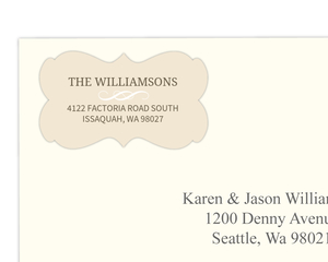Brown and Cream Modern Wedding Address Label