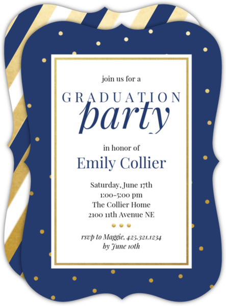 Faux Gold Dots Graduation Invites