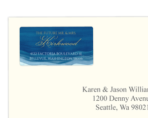 Elegant Blue Watercolor Wash Address Label