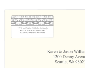 Elegant Gray and White Striped  Address Label