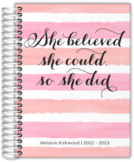 Watercolor Stripes She Believed Daily Planner