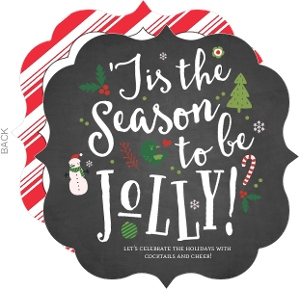 Chalkboard Jolly Cheer Fill in the Blank Holiday Party Invitation