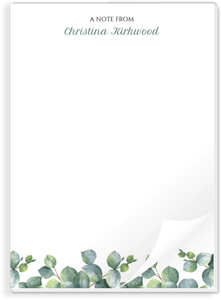 Greenery Watercolor Foliage Notepad