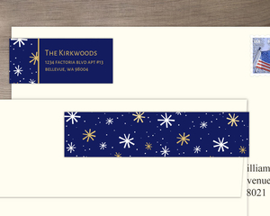 Gold and White Snowflakes Address Label