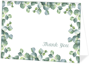 Greenery Watercolor Foliage Thank You Card