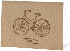Kraft Bicycle Folded Thank You Card