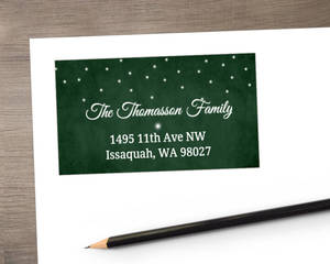 Dark Green Christmas Address Label