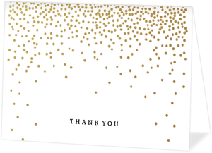Golden Faux Foil Confetti Folded Thank You Card